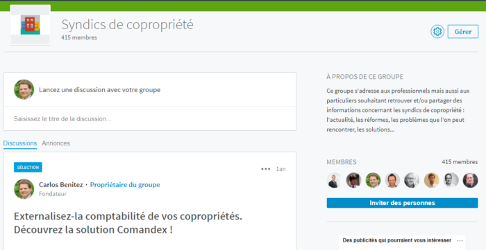 "Groupe Linkedin ""Syndics de copropriété"""